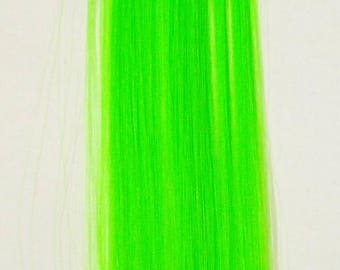 Candy Stripers Mermaid Turquoise Radioactive Green Bright Neon Hair Extension Clip In Barrettes Long Synthetic Straight - More Colors