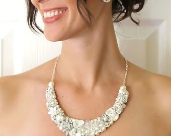 Bridal Statement Necklace- Vintage Inspired Necklace- Wedding Necklace- Bridal Necklace- Pearl Necklace- Ivory Bib Necklace- Brass Boheme-