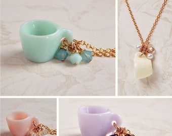 Miniature Tea cup Necklace - Little Cup of Spring - Tea Jewelry - Swarovski crystal - mini teacup necklace