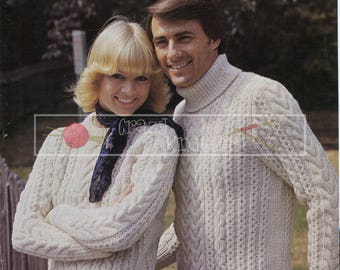 Unisex Cable Sweater 32-42in Aran Patons 1346 Vintage Knitting Pattern PDF instant download