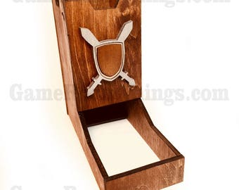 Medieval Dice Tower, Dice Tower, Wood Dice Tower, Medieval, Crest Dice Tower, Crest, Sword and Shield, Dice