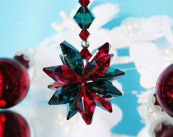 Swarovski Crystal Christmas Ornament Red and Green Christmas Gift