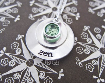 Sterling Silver Custom Stacked And Domed Mommy Necklace - Personalized Hand Stamped Name Pendant With One Birth Stone