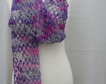 Pure Silk Lace Scarf, Hand Spun Pure Silk Scarf, Love Knot Crochet Silk Scarf