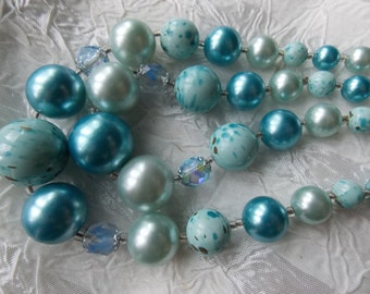 Blue Vintage Two-Strand  Beaded Necklace with Speckled Beads, AB Crystals, Faux Pearls