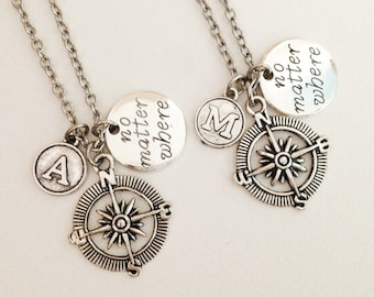 set 2 compass necklace - no matter where necklace - initial necklace - personalized necklace - friendship necklace - birthday gift