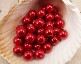 10mm Glass Pearls - Dark Red - 40 pieces - Merlot