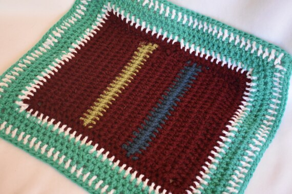 Burgundy & Teal Crochet Pet Carrier Liner -- Small Cat Mat in Deep Red, Sea Foam Teal, Blue, White, and Sage