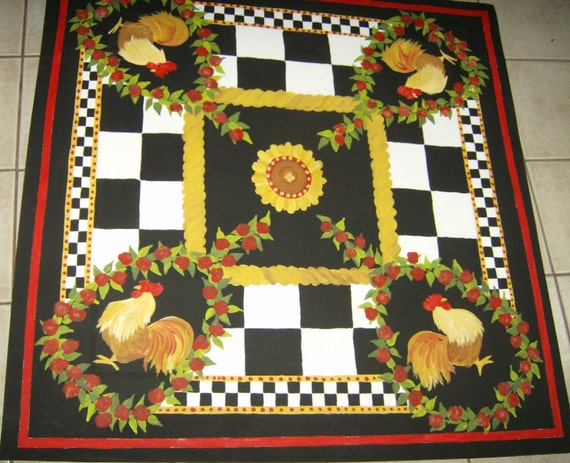 French Country Rooster Floorcloth Hand Painted Canvas Rug