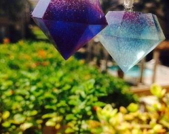 Galaxy charm, diamond charm, light blue charm
