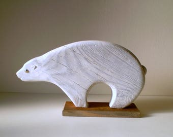 White bear old solid wood carved, etched and patinated white featured on a pedestal - original Creation