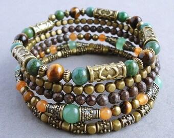 Earthy Gemstone Beaded Memory Wire Bracelet, Tiger Eye, Aventurine, Jasper, Green, Brown, Antique Brass, Boho, Gypsy