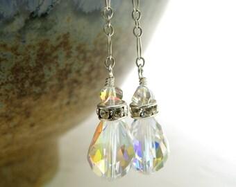 Teardrop Crystal Earrings, Swarovski, Sterling Silver, Long Dangle, Bride Earrings, Bridesmaid Wedding Jewelry, Handmade Jewelry