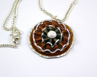 Coffee capsule necklace, gold Brown and green