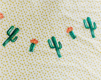 Handcrafted Cacti Bunting, Cinco De Mayo Party Decorations, Taco Party Decorations, Photo Booth Decorations, Nursery Cactus Garland, Green
