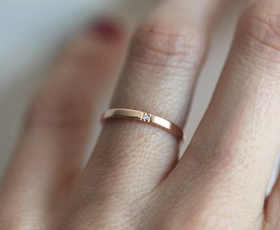 Simple Rose Gold Diamond Band Wedding Ring Flat 2mm Thin