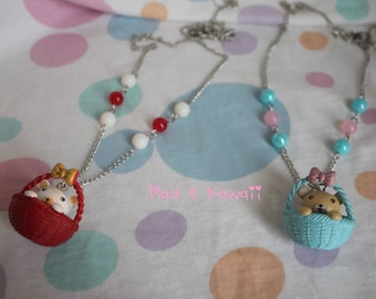 bear in his basket necklace