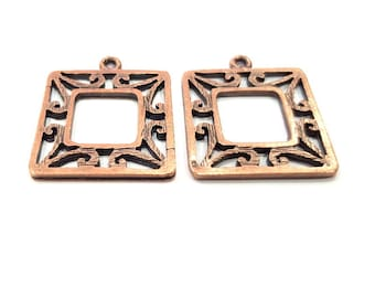 4 Copper Charm Antique Copper Charm Antique Copper Plated Metal (22mm) G11616