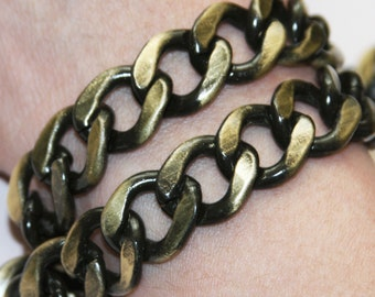 5 ft Antique brass chain, Aluminum Chunky heavy chain Curb open link chain  16x20mm, large chunky chain aluminum chain