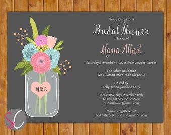 Glass Jar Floral Flower Invite Spring Bridal Shower Invitation Chalkboard DIY Printable Shower Invite 5x7 JPG (183)