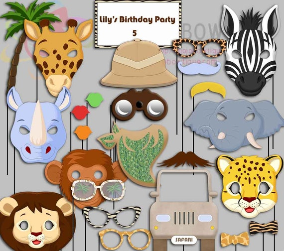 Editable Safari Party Photo Booth Props Jungle Birthday
