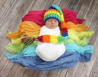 Rainbow Baby Elf Hat, Newborn Photo Prop