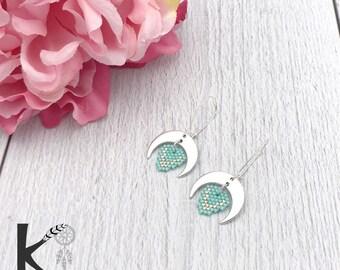 ADARRA Mint green and Silver earrings