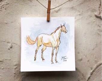 """Horse art original watercolor & ink painting - """"Swish"""""""