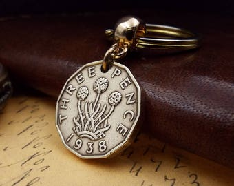 Genuine 1938 Brass Threepence Coin Keychain 80th Birthday Gift,  Boxed