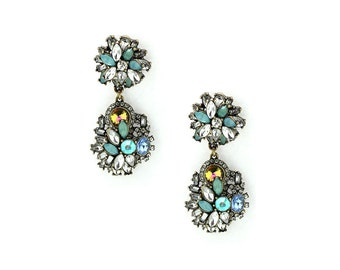 Handmade Rhinestone & Goldtone Harlet Earrings Very High Quality