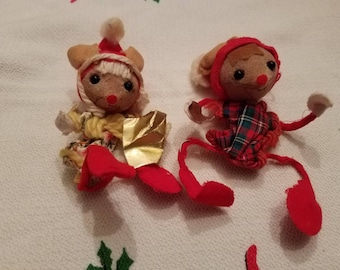 Vintage Funky Mouse Christmas Ornament Pair