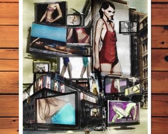 "Digital print art of mixed media drawing ""TV Models"" poster"