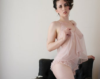 sheer lingerie set including camisole and panties - RUFFLES - made to order