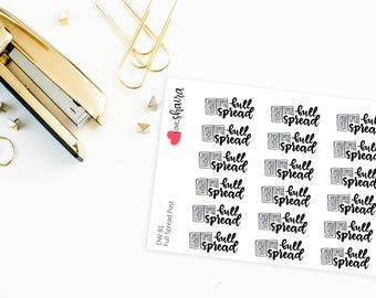 Full Spread Post | Social Media, Planner spread, midweek, second half, full week, plan with me - Hand Drawn, Hand Lettered Planner Stickers