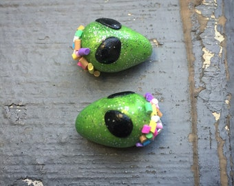 Extra Tasty Terrestrials: Rainbow Sprinkle Dipped Alien Head Stitch Markers for Knitters & Crocheters