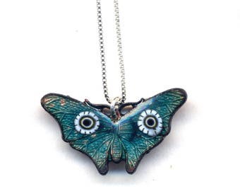 Enamel Butterfly Necklace, Sterling Silver Unique Emerald Green Necklace, 925 silver, Sterling Necklace, Butterfly Pendant Necklace by Anna