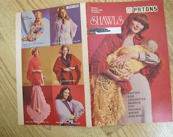 Patons Shawls / Beehive Book no. 405 / Knit and crochet shawl patterns / Baby shawls / Women shawls