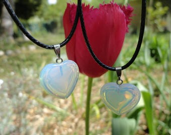 SALE 50% on the lot 2 necklaces hearts opaline for 2 sisters, mother and daughter, best friends