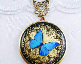 black gold locket rosegold necklace butterfly rose lockets