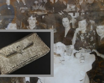 Glamorous Vintage Old Hollywood Silver Mesh Evening Clutch with Rhinestone Clasp, by Whiting and Davis