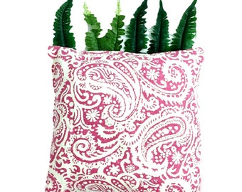 PILLOW COVERS   Hot Pink & Cream Pillow Cover   Linen   Home Decor   ALPHONSINA