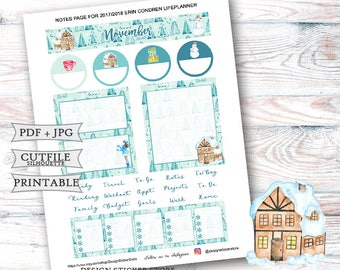 November 2017 Notes Page Stickers for Erin Condren Lifeplanner/Printable Notes Page Stickers/November Planner Stickers/Printable Monthly kit