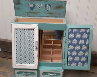 JEWELRY Box Hand painted in turquoise Swedish Farmhouse  aqua and white Shabby Chic Cottage chic and beach cottage decor