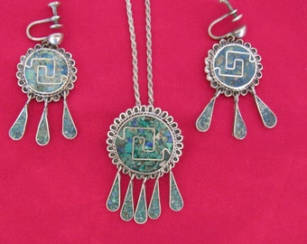 STERLING TURQUOISE INLAY, Vintage Necklace and Earrings Set, Artist Signed, Hand Made Mexico