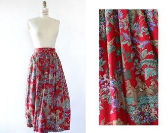 Novelty Print Skirt S • Vintage Novelty Print Skirt • Red Vintage Skirt • Midi Length Skirt • Printed Midi Skirt • Full Skirt • SK1076