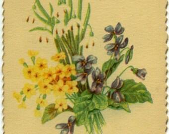 Easter Remembrance Snowdrops Violets & Primroses Vintage POSTCARD Post Card