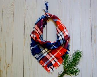 JENNI- Orange bandana, blue bandana, plaid bandana, frayed bandnana, tie on bandana, Broncos bandana, dog accessory, dog bandana