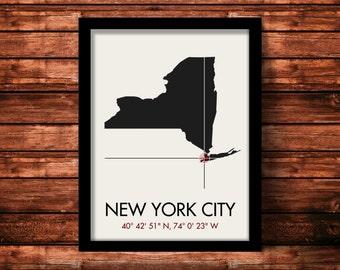 New York City Map Print | New York City Map Art | New York City Print | New York City Gift | New York Map | 11 x 14 Print