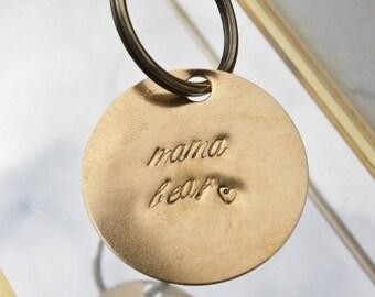 MAMA BEAR key chain, hand stamped keychain, mama bear gift, funny gift.