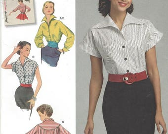 1950s Womens Blouse Front and Collar Cut in One Kimono Sleeves Simplicity Sewing Pattern 8445 Size 6 8 10 12 14 Bust 30 1/2 to 36 FF